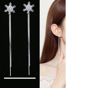 Femmes élégantes Long Tassel Snowflake Boucles D'oreilles Bijoux De Mode Oreilles Nail Accessoires Délicat Boucle D'oreille Brincos De Noël Ornements