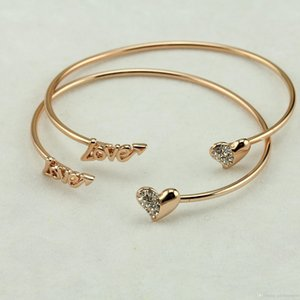 Charm Bracelets Blanks For Women Trendy Jewelry Beautifully Double Peach Heart Love Gold Plated Crystal Opening Bracelets Bangles