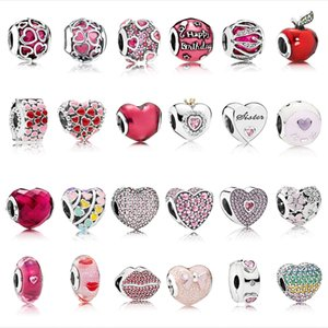 Heart Beads 925 Sterling Silver Fit Original Pandora Charm Bracelet Necklace silver 925 Pink Zircon Christmas Beads Fashion Jewelry a1ea34#