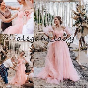 Adoráveis vestidos de casamento pêssego rosa de praia com mangas 2021 Querida fada Tulle Princesa Verão Bohemian Noiva do vestido de casamento