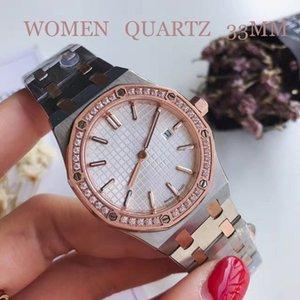 Lüks Kadınlar Saatler 33 mm Klasik Model Antik saatı Yüksek Kalite Altın / Gümüş Paslanmaz Çelik Kuvars Bayan Saatleri ile Pır