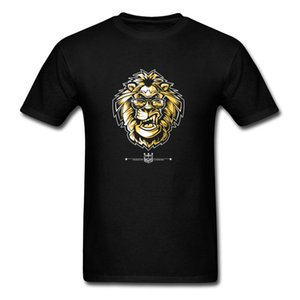 KING OF LUNCH Tee-Shirt Men Lion T Shirt Print Cool Streetwear Cotton Tshirt Black Tops Summer Custom Tees Hipster Clothes