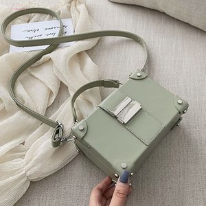 2020 New Arrival Pu Leather Small Square Bag Box Shaped Metal Hasp Rivet Casual Simgle Women Fashion Tide Simple Handbags