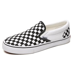 Black And White Chess Board Leisure Sports Couple Lazy Shoes Boys And Girls Canvas Shoes One Pedal Canvas Shoes