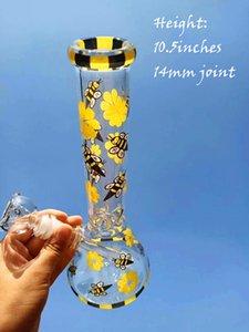 10.5 дюймов желтый Би стекла Beaker Основание Bubbler водопроводные трубы прямые Dab Рог мензурка Проц нефтяных вышек 14мм Joint чаша стекло затяжками