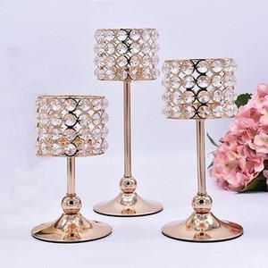3pcs prata banhado a ouro castiçal de cristal Candelabra central do casamento Decoração Castiçal Centro Romantic Table Castiçais