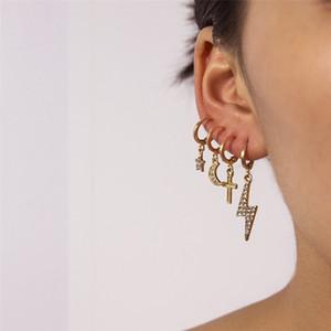 Pendientes de la vendimia Conjunto Rayo Luna Cruz colgante de la estrella 4pcs Mujeres joyas de moda personalizada Traje sencillos pendientes FJ180-2