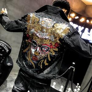 2020 Новый Стиль Punk Novel Вышитые Rivet джинсовой куртки мужчин пальто Тонкий хлопок Джинсы Мужской Hip Hop High Street Молодежь блестками