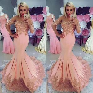 Elegantes pêssego sereia Vestidos de baile com tampado mangas compridas Lace apliques Beading See Through Neck Formal Wear Vestido