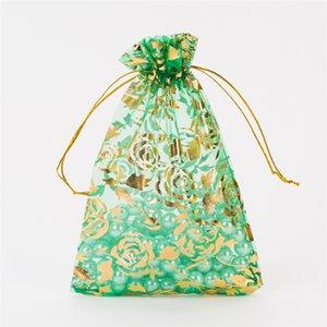 100pcs Imballaggio dei monili Drawable puro del organza garza Elemento dei sacchetti dei sacchetti 7 * 9cm Bronzing Rose Eugen regalo Candy Borse 5ZSH332
