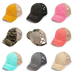 14 couleurs délavées Ponytail Casquette de baseball femmes Messy Buns Baseball Chapeau Ponytail Messy Buns coton Chapeaux d'extérieur Snapbacks Net Caps M2225