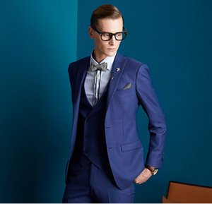 Classic Peak Lapel Wedding Tuxedos Slim Fit Suits For Men Groomsmen Suit Three Pieces Prom Formal Suits (Jacket+Pants+Vest+Tie) W128