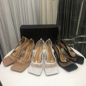 diseño de lujo de tacones altos zapatos de vestir del dedo del pie cuadrado de malla y Berry CALFSTRETCH las mujeres bombea la sandalia atractiva de la cadena Schuhe estiramiento de la manera BOMBAS