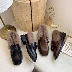 mocassins de pele quadrado pés de pelúcia sólidos bowknot breve outwear sapatos mulher confortáveis apartamentos quentes femme deslizamento de couro em loafers2019 coreano