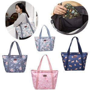 Women Floral Shopping Shoulder Bag Girl Flamingo Fox Print Beach Storage Tote Pouch Hangbag Satchel Oxford Travel Bags Crossbodybag Purse