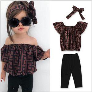 3PCS Set roupas de verão para meninas 2020 Novas Tops bonito terno da menina + Calças + Carneiras Crianças Outfits Crianças Roupa varejo
