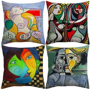 Pablo Picasso Paintings capas de almofadas Europeia Almofada Pintura abstrata moderna Arte da capa de sofá de linho decorativa fronha de algodão