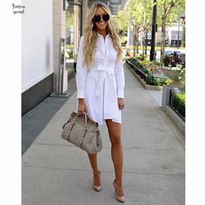 Casual Verão vestido branco Mulheres Sólidos manga comprida vestidos de camisa com botões de escritório fêmea Belt Ladies Cotton Viscose Vestido