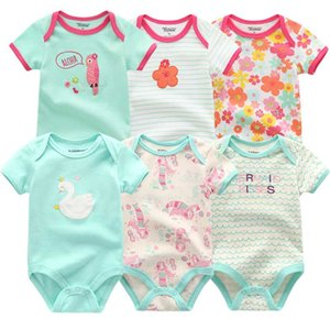 New Baby Girls Romper 6PCS lot Short Sleeve Floral Print Summer Clothing Set For 0-1 years infant clothes