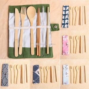 7 pçs / set conjunto de talheres portátil de viagem ao ar livre de bambu talheres conjunto de colher de pau colheres garfo colher louça conjuntos HH9-2305