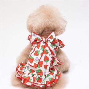 Vestido del animal doméstico del patrón del verano elegante impreso admiten vestidos INS fresa del estilo de 2 colores encanto encantador peluche Bichon Apparel