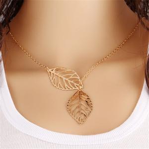 Два Листья ожерелье Серебро Золото Hollow лист ключицы Choker Chain себе ожерелье Мода простой европейский шарм ювелирные изделия для женщин