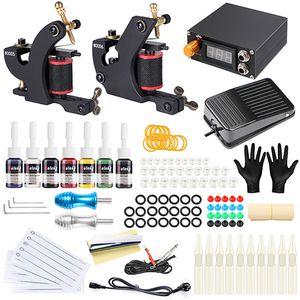 Complete machine de tatouage Kit Set Bobines Guns Couleurs Pigment Sets Puissance Tattoo Kits Débutant Poignées Maquillage permanent