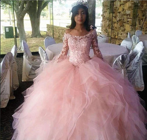 Newest Princess Pink Ball Gown Quinceanera Dresses Bateau Long Sleeve Hollow Back Cascading Ruffles Appliques Prom Party Gowns For Sweet 16