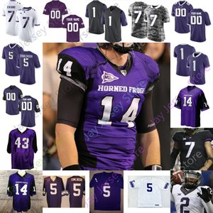 Personalizado TCU Horned Frogs Football Jersey NCAA Garret Wallow Ross Blacklock Jeff Gladney Josh Doctson Andy Dalton LaDainian Tomlinson