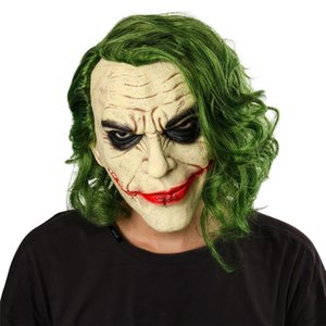 Joker Mask Cosplay film horror spaventoso maschera da clown con Green parrucca di Halloween in lattice Maschera costume del partito