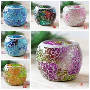 Crystal Glass Mosaic Candle casamento Titular castiçais Vela de Promessa Valentines Day Decoração Wedding Candle Lanter DBC BH3530