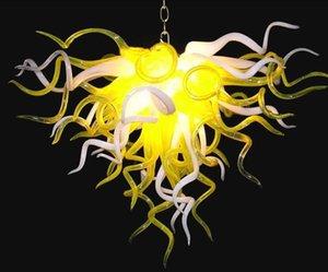 Férias decorativa Chandelie iluminação amarela e branca Abajur Teto alto Hand Blown Art Glass Chandelier Com Lâmpadas LED