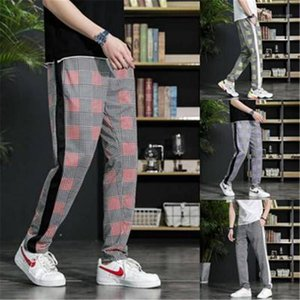 Fit Running Joggers Sweatpants Mens Trend Color Matching High Quality Pants Man 3D Plaid Trousers Long Casual Sport Pants Slim