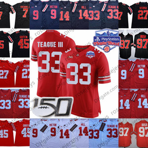 2020 штат Огайо штат Огайо Fiesta Bowl Джерси 9 Binjimen Victor 14 KJ Hill 33 Мастер Тиг III Дуэйн Хэскинс младшего Джо Боза 150-й