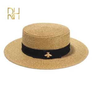 Mesdames Sun Fedora chapeaux petite abeille Chapeau de paille tressée européen et américain Retro Gold Hat Femme Pare-soleil Casquette plate visières Chapeaux RH