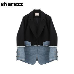 Sharezz Primavera 2020 nuevas mujeres del dril de Patch capa de la chaqueta Slim Fit de manga larga asimétrica Blazer Tops Oficina Tide