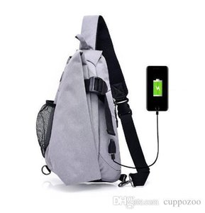 Pop2019 Multifunction USB Charging Canvas Men Chest Pack Crossbody Bag Travel Rucksack Chest Bag Small Sling Bags Men Shoulder Back Pack