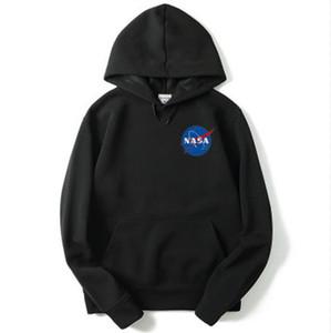 Hoodies Hip Hop Black White NASA Long Sleeve Hooded Hoody Mens Hoodies Sweatshirts Plus Size S-2XL