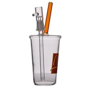Mini tasse de verre épais de bécher à bécher BONG RECYCLER Huile plate-forme d'eau BONGS Tuyau de fumée avec 7 mm Broknahs joint Shisha Bubler 8 pouces
