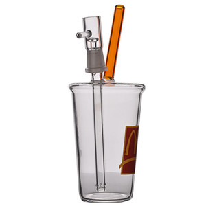 Mini taza de vidrio grueso burbujeante bóbato de vidrio bong reciclador plataforma petrolera de agua bongs de agua Tubo de humo con una junta de 14 mm Hookahs Shisha Bubbler de vidrio de 8 pulgadas