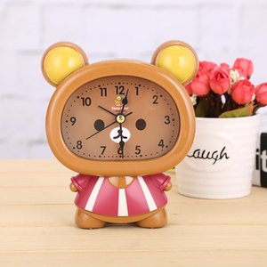 Oso de peluche Creative Cozy Provence Pink Cartoon Bear Alarm Clock Mute Needle Clock Snooze Function Table Ornament