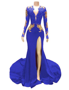 Gold Appliques Dark Red Prom Dresses Long Sexy Deep V Neck Long Sleeve High Split Formal Evening Gowns Women Backless Cocktail Party Dress