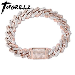 TOPGRILLZ 14mm Big Box Clasp Miami Cuban Link Bracelet Gold Silver Color Iced Out Cubic Zircon Rock Hip hop Style Men's Jewelry
