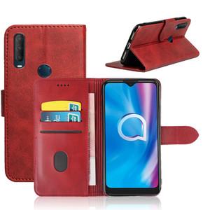 Kapak TPU Alcatel 1S 1B 2020 3C 7 2019 lüks deri çevir Cüzdan Telefon Kılıf için siyah yumuşak silikon