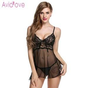 Avidlove Lingerie Sexy Erotic Hot Babydoll Dress Women Transparent Floral Lace Night Porn Underwear Fantasy Sex Clothes T191223