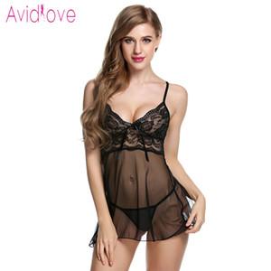 Avidlove Sexy Lingerie erotica calda vestito dalla bamboletta donne trasparenti in pizzo floreale Notte intima porno Fantasy Sex Abbigliamento T191223