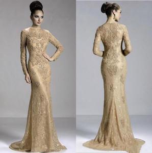 2020 Long Sleeve Hot Vintage Mermaid Mãe do noivo da noiva do vestido de renda apliques de contas até o chão Formal Prom Evening Partido Vestidos