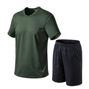Летние спортивные домашние мужские сетчатые шорты с коротким рукавом комплект ледяная шелковая футболка свободный, удобный, прохладный и дышащий спортивный костюм
