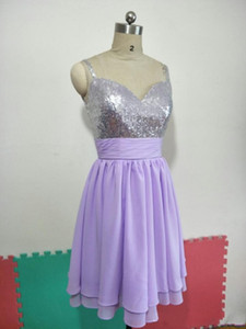 Sleeveless Pleated Sweetheart A-Line Short Chiffon Bridesmaid Dresses Lilac for Wedding Party Sequin 80s Prom Gowns