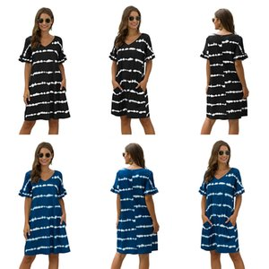 Women Dress Casual Holiday Female One Shoulder Dresses Summer Designer Striped Printed Ladies Dress Fashion Gradient Color#799